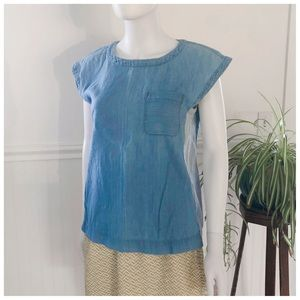 Lou & Grey Denim Chambray Sleeveless shirt SMall